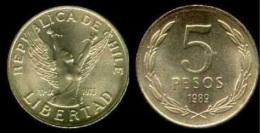 Chile 5 Pesos 1.989 Niquel-Latón KM#217.2 SC/UNC   T-DL-11.320 - Chile