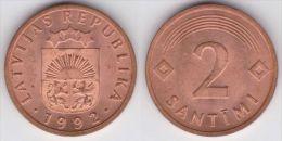 Letonia / Latvia  2 Santimi 1.992 Bronce-Acero KM#21  SC/UNC   T-DL-11.321 - Letonia