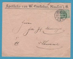 BRIEFUMSCHLAG APOTHEKE W.GNEFELIUS STAUFEN Im Br. 29.7.1896 - Non Classés