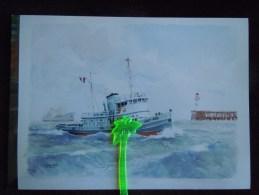Grande Photographie couleur , Le Havre , Le Remorqueur Am�ricain USST 488  ,  repro d �une  aquarelle