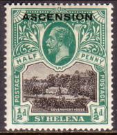 Ascension 1922 SG #1 ½d MNH OG! - Ascension