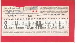 BILLET HEBDOMADAIRE MAISONS ALFORT ALFORTVILLE A PARIS GARE DE LYON 2e CLASSE - Europa