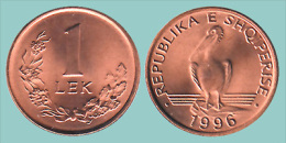ALBANIA  1 LEK 1.996  BRONCE  KM#75  SC/UNC   T-DL-11.329 - Albania