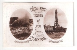 RP BLACKPOOL TOWER WITH KIND THOUGHTS FROM BLACKPOOL Lancashire Postcard Dated 1924 - Blackpool