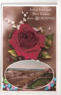 RP BLACKPOOL JUST A LINE WITH BEST WISHES FROM BLACKPOOL Lancashire Postcard Dated 1933 - Blackpool