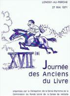 LONGNY AU PERCHE  Menu  Journee Des Anciens Du Livre  3scans - Menus