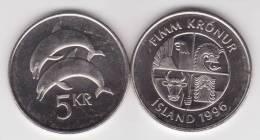 Islandia 5 Coronas 1.996 Niquel Acero KM#28a SC/UNC    T- DL-10.329 - Islandia