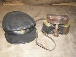 2 ww1 items GERMAN binocoulars and ENGLISH hat