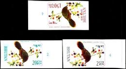 BIRDS- CRIMSON WINGED LAUGHING THRUSH-IMPERF- 3 DIFF- BHUTAN- MNH-BH-164 - Bhutan