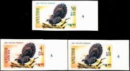 BIRDS- GREY PEACOCK PHEASANT-IMPERF- 3 DIFF- BHUTAN- MNH-BH-164 - Bhutan