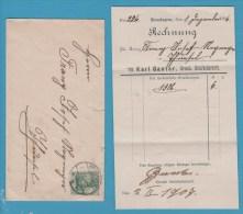 BRIEFUMSCHLAG MIT RECHNUNG KARL GANTER TIERARZT  KROZINGEN  1906 - Allemagne