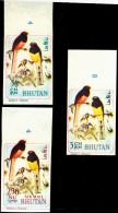 BIRDS-SONGBIRDS-WARD'S TROGON-IMPERF- 3 DIFF- BHUTAN- MNH-BH-164 - Bhutan