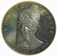 HAITI - REPUBLIQUE D' HAITI - 10 GOURDES (1971) PLAYING FOX FOX - NATIVE AMERICAN INDIAN CHIEFS - SILVER COIN (999,9%) - Haïti