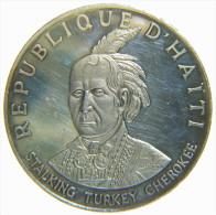 HAITI - REPUBLIQUE D' HAITI - 10 GOURDES (1971) STALKING TURKEY CHEROKEE - NATIVE AMERICAN INDIAN CHIEFS - SILVER COIN - Haïti