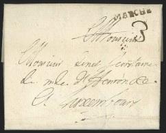"""L. 1732 marque MARCHE (22X3) en brun + """"3"""" pour Luxembourg. TTB"""
