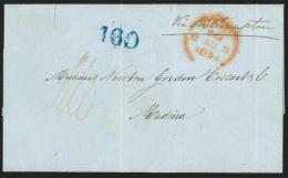 """Antilles Danoises L. Datée De St Thomas 1854 """"via Southampton"""" + """"160"""" Au Tampon Pour Madeira. - Antillas Holandesas"""