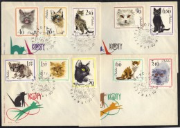 CHATS - CATS - KATZEN / 1964 POLOGNE SERIE COMPLETE SUR 4 ENVELOPPES FDC (ref 6101) - Domestic Cats