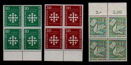 Bund: aus 1956 Evangelischer Kirchentag und Tag der Briefmarke im 4er vom Rand  postfrisch/**/MNH  !