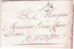 1771- Lettre De Paris ,très Beau P  Couronné  Taxe 8 Sols Pour Macon - Marcophilie (Lettres)