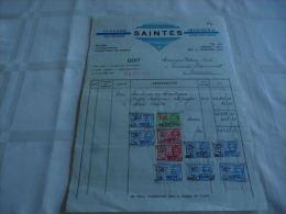 FF Facture Imprimerie Fernand Saintes Haine Saint Pierre 1934 Avec Timbres - Printing & Stationeries