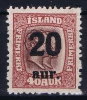 Iceland: 1921 Mi Nr 109  MNH/** Postfrisch    Fa 106 - 1918-1944 Administration Autonome