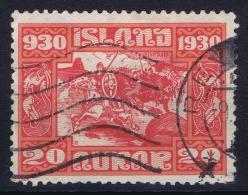 Iceland: 1930 Mi Nr 130   Used  Fa 178 Heavy Hinge - Oblitérés