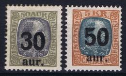 Iceland: 1925 Mi Nr 112 - 113 MNH/**  Fa 101 - 102 (signed) - 1918-1944 Administration Autonome