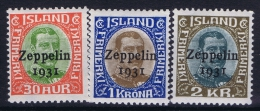 Iceland: 1931 Mi Nr 147 - 149 MNH/**  Fa 162 -164 Zeppelin 1931 - Poste Aérienne