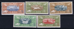 Iceland: Airmail Mi Nr 142 - 146  MH/* Fa 189 - 193 1930 - Poste Aérienne