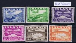 Iceland: Airmail Mi 175 - 180   MNH/**   With 177B Perfo 12.50 X 14 - Poste Aérienne