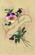 Bonne Année  Très Belle Cpa Cellulo Fleurs - Dreh- Und Zugkarten