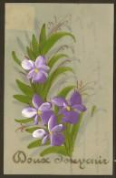 Carte Celluloïd Fleur Peinte Doux Souvenir - Postcards