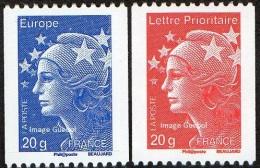 France N° 4572 Et 4573 ** Marianne De Beaujard, Les Roulettes De 20 Grammes Gommées, Prioritaire > Rouge & Europe > Bleu - France