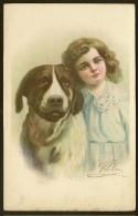 Fillette Et Chien Illust. Villa (TAM N° 7604) - Enfants