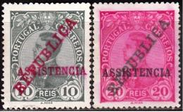 PORTUGAL (IMP. POST. E TELEG.) 1911. D. Manuel Ll, C/ Sobgas «REPUBLICA» «ASSISTENCIA»(Série, 2 Valores) (*)  Af. Nº 1/2 - Télégraphes