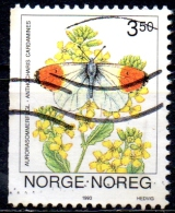 NORWAY 1993 Butterflies -   3k.50 - Orange-tip (Anthocaris Cardamines)   FU - Norwegen