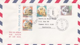 Italy 1992 Cover, Castles 50 Lire, Pair 100 Lire And 1000 Lire Sent To Australia - 6. 1946-.. Republic