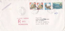 Italy 1992 Registered Cover, Castles 850 Lire, Pair 100 Lire And Lions 3000 L Sent To Australia - 6. 1946-.. Republic