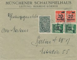 MÜNCHEN - 8.9.1923   -  Münchener Schauspielhaus , Leitung: Hermine Körner   ,  Big Letter , Dispatch = 4,00 EURO - Allemagne