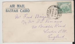 Mes021/ Flight Basrah - Cairo 1931 With Destination London (Brief, Cover, Lettre) - Irak