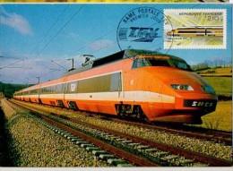 CP - TGV - Record Du Monde Vitesse Sur Rail 380 Km/h La 26 Février 1981 - Cachet Poste 1er Jour à Lyon (avec Timbre TGV) - Treni