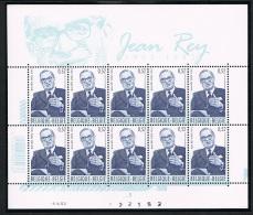 Année 2002 - Feuillet De 10 - COB 3097** - Pl10 -  Jean Rey -  Cote 14,00€ - Panes