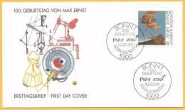 Allemagne RFA 1991 1401 FDC Max Ernst Monument aux Oiseaux �mission commune France