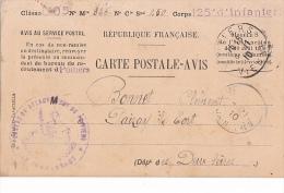 24361 CARTE POSTALE AVIS CONVOCATION A UNE PERIODE DE 23 JOURS 1910 -125e Infanterie 1905