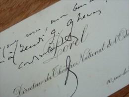 Paul POREL (1843-1917) - Comédien - Directeur THEATRE ODEON - AUTOGRAPHE - Autografi