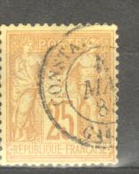 Y & T N° 92 OBLITERATION CACHET TYPE 15 CONSTANTINE GALATA - 1876-1898 Sage (Type II)