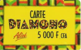 CARTE-PREPAYEE-SENEGAL-ALIZE-5000F CFA-DIAMONO-Epaisse-V°N° Série A Gauche-Pt N° Lasers-TBE - Sénégal