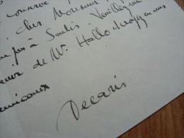 Albert DECARIS (1901-1998) Peintre & Graveur De Timbres - Dessinateur - [ ANNECY ] - AUTOGRAPHE. - Autographs