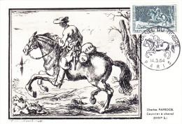 Carte-Maximum FRANCE N° Yvert 1406 (COURRIER à CHEVAL) Obl Sp Ill 1er Jour (Ed Aulard) - Cartes-Maximum