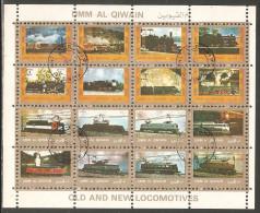 Umm Al-Qiwain 1972 Mi# 1226-1241 A Zd-Bogen (4 X 4) Used - Small Format - Locomotives / Trains - Umm Al-Qiwain